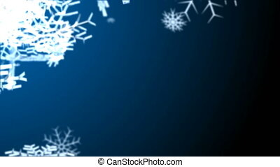 Snowflakes falling on colorfull background. Loop animation