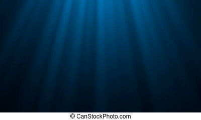 Looping animation of ocean waves from underwater. Light rays...
