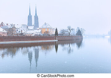 Cathedral Island in the winter day, Wroclaw, Poland -...