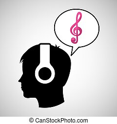 head silhouette listening music clef