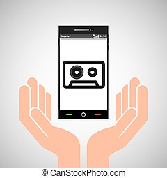hand mobile phone tape cassette vector illustration eps 10