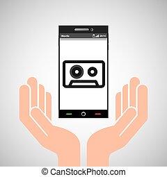 hand mobile phone tape cassette vector illustration eps 10