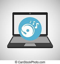 laptop music technology console disk vector illustration eps...