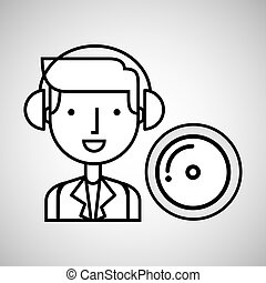 man hand drawing listening music cd vector illustration eps...