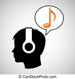 head silhouette listening music note