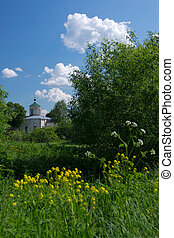Rural church - White church in the summer rural landscape