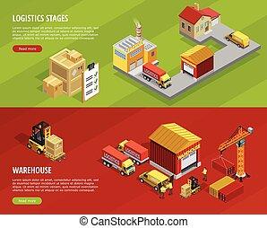 Logistics Isometric Horizontal Banners - Logistics isometric...