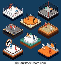 Martial Arts Isometric People Composition - People fighters...