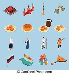Russia Isometric Touristics Icons Set - Russia isometric...
