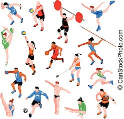 Sport Isometric Set - Sport isometric set with sportsmen of...