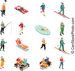 Elderly People Isometric Icons Set - Male and female elderly...