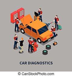 Car Diagnostic Auto Center Isometric Composition