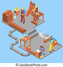 Woodwork People Composition - Woodwork people isometric...