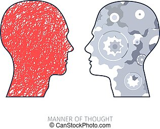 different ways of thinking - two heads silhouettes with...