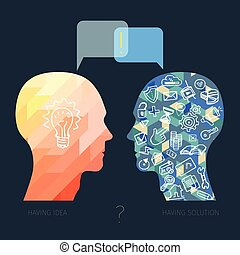 business dialog concept - head with idea and head with...