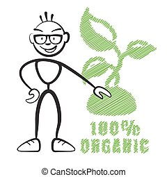 Stick figure with symbol 100% Organic