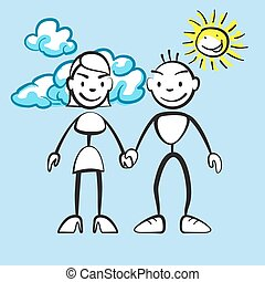 Couple smiling with clouds and sun, vector drawing on...