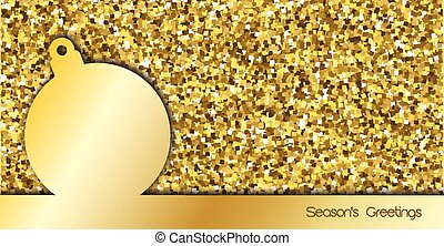 Christmas card design with bauble over gold glitter background