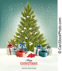 Christmas background with a Christmas tree and presents with...