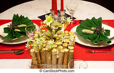 Festive table in red and green