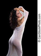 Gorgeous model in white sheer fabric - Beautiful artist...
