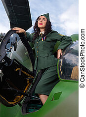WW2 soldier in helicopter - Happy pin-up model in WW2...