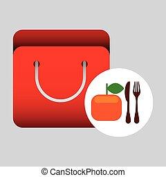 grocery bag orange nutrition fruit vector illustration eps...