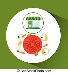 store fresh vegetables natural vector illustration eps 10