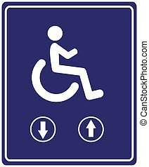 Elevator for Wheelchair User - Sign for people with mobility...