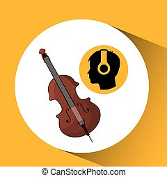 head silhouette listening music fiddle vector illustration...