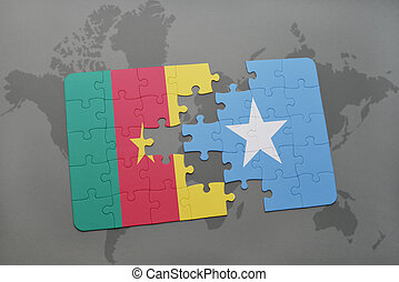puzzle with the national flag of cameroon and somalia on a...