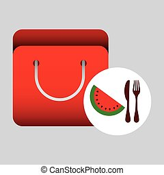 grocery bag watermelon nutrition fruit vector illustration...