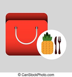 grocery bag pineapple nutrition fruit vector illustration...