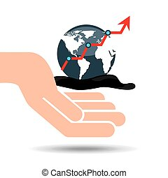 hand oil industry world upward arrow vector illustration eps...