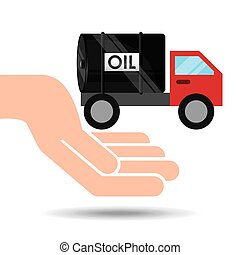 hand oil industry truck transport oil vector illustration...