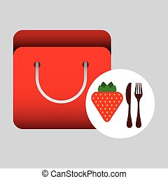 grocery bag strawberry nutrition fruit vector illustration...