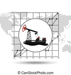 oil well industry growth diagram background vector...