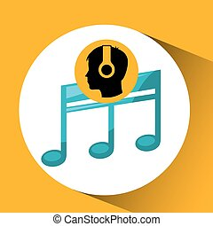 head silhouette listening music quaver vector illustration...