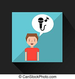 young boy music concept microphone note vector illustration...