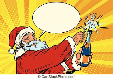 Santa Claus opens a bottle of champagne