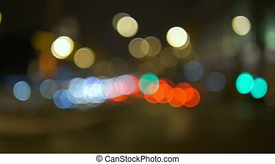 Abstract lights of traffic in the night. Blurred, not in...