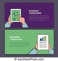 Flat style infographic of advertising campaign. Hands...