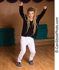 dança, mostrado, hábil,  hip-hop