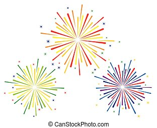 Vector illustration of colourful fireworks set on white background