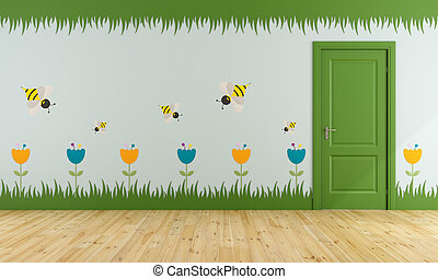 Playroom with colorful decorations on wall and green closed...