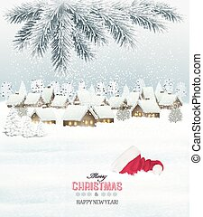Winter christmas background with a snowy village landscape...
