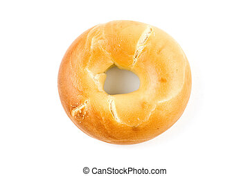 Plain bagel isolated on white background with copy space, in...