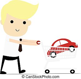 Shopping for a Home A man walking with a new car in his shopping cart.
