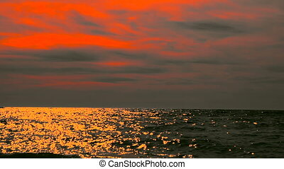 Sea or ocean at sunset. - Sea or ocean at sunset, seascape...