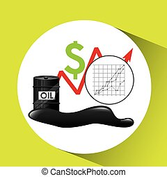 growth price oil industry growth diagram background vector...